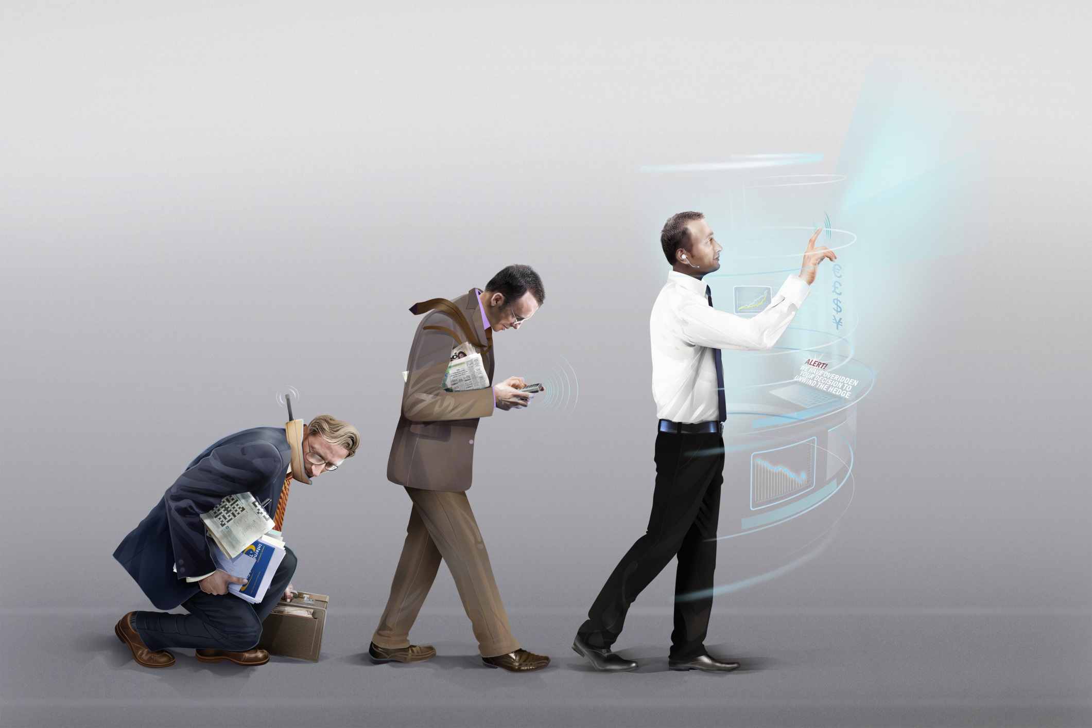 Three businessmen in stages of evolution of mobile communication technology