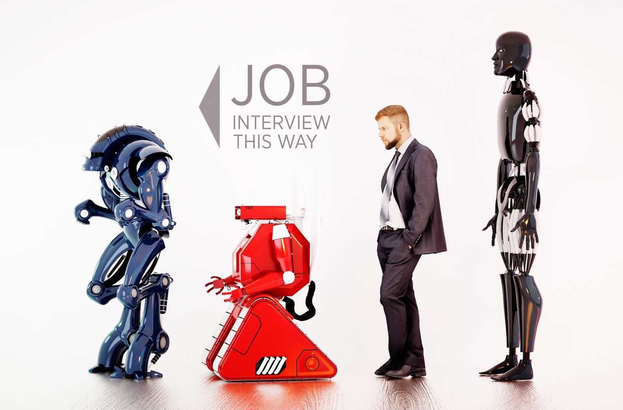 A man waiting in line between robots on a job interview. 3D rendering.