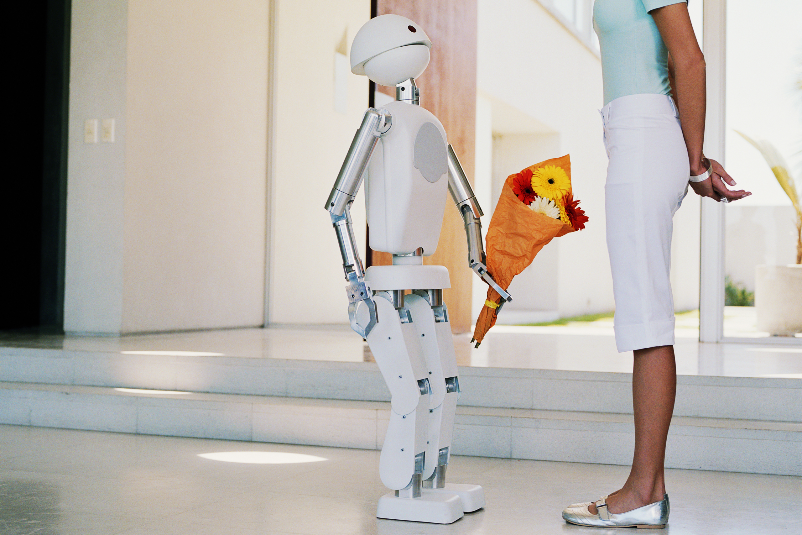 Robot giving bouquet of flowers to young woman in entryway, side view